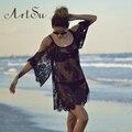 ArtSu Summer Dress 2017 Свободные Сексуальные Кружева Свободные Цветочные Sheer Ремень Платья Boho Dress С Плеча Пляж Dress ASDR10001