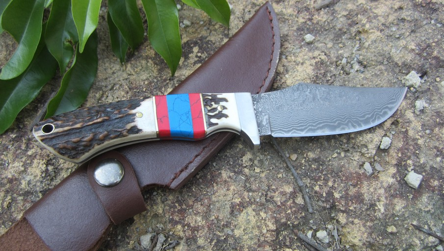 Super Cool Damascus Straight font b Knife b font Outdoor Self defense Survival Sport Rescue Camping