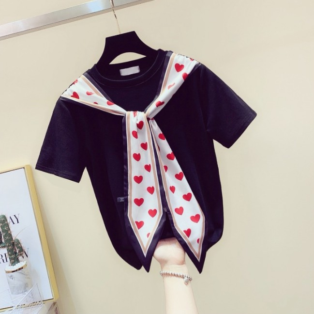 Summer Black Tshirt Women 2019 Korean New Pure Color Loose Love Scarf Shawl Shirts Student Short Sleeve T-shirt All-match Tops