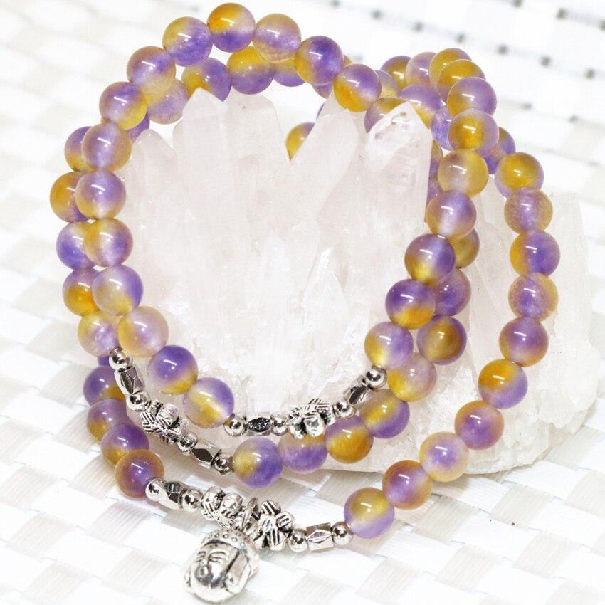 Bán buôn giá multicolor tự nhiên jades đá chalcedony 6 mét vòng hạt multilayer vòng tay phật head pendant đồ trang sức B2198