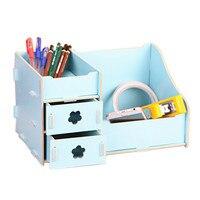 Wooden Multifunction Desk Stationery Organizer Storage Box Pen Pencil Box Case Jewelry Makeup Organizer Cosmetic Lipstick