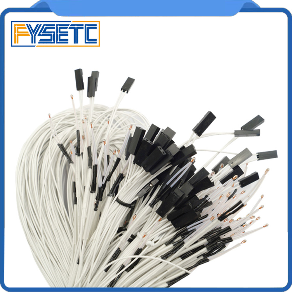 10pcs 100K Ohm NTC 3950 Thermistors With Cable For 3d Printer Mend RAMPS 1.4 A4988 MK2B Heatbed