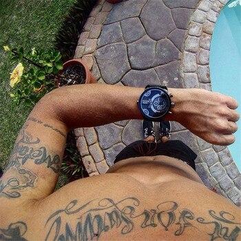 Oulm ȅ�時計トップブランドの高級ファッションクォーツスポーツウォッチ 3 Â�モールダイヤル装飾レザーストラップメンズ腕時計レロジオ Masculino