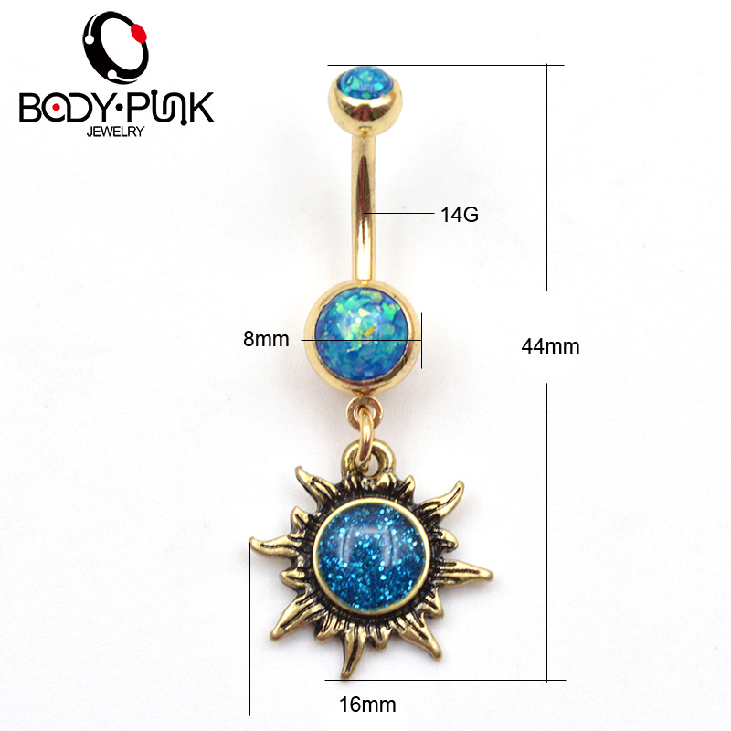 Buy body punk burnished gold sun body for Belly button jewelry store