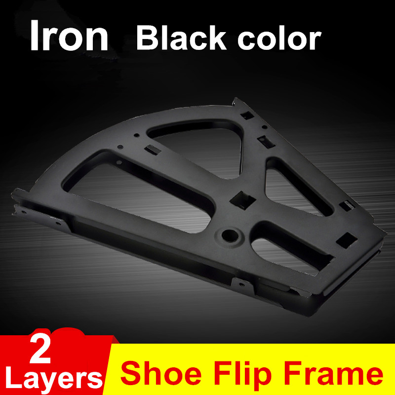 1Pair Iron Shoe Rack Flip Frame 2 Layers option Black Color Hidden Hinge free shipping 3 layer shoe bucket rack accessories hardware shoe flip frame plate turnover bracket three hidden layer rack