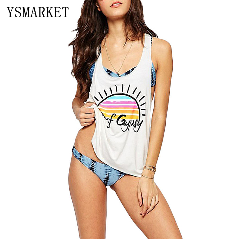 New Summer Beach Cover Up Surf Gypsy Rainbow Sun Tank Top Swimsuit Hot Women Sexy White Loose Print Swimwear Bathing Suit Q42151