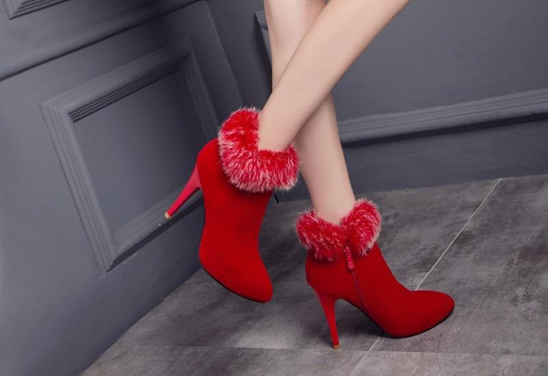 US $22.76 53% OFF|Meotina Schuhe Frauen High Heels Knöchel Stiefel Winter Stiefel Pelz Plattform High Heels Damen Stiefel Zip Weiß Lila Großen Größe