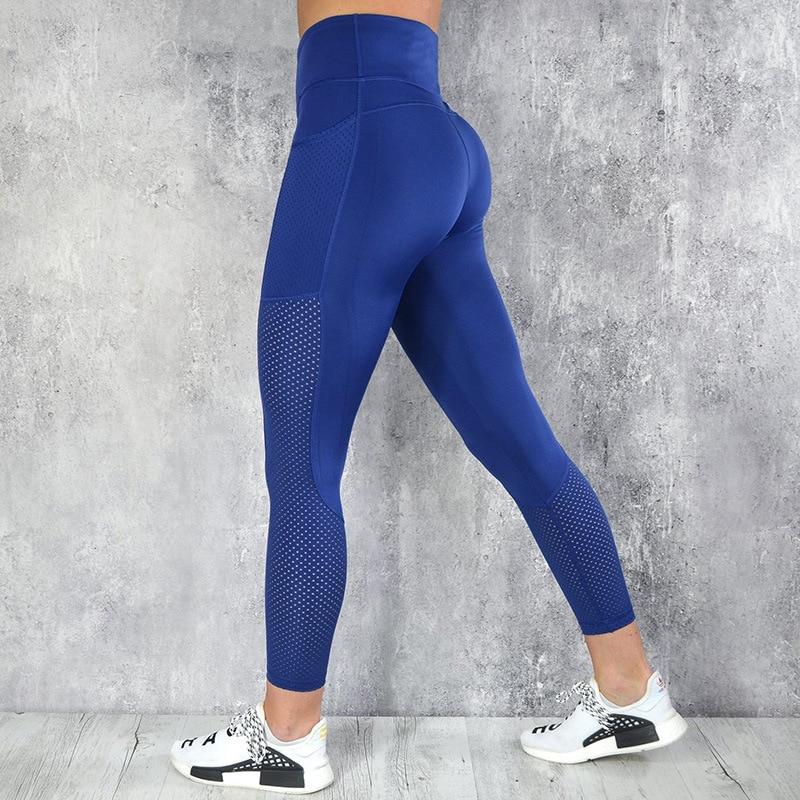 CHRLEISURE High Waist Leggings Women Fitness Legging Pocket Mesh Leggings Breathable Patchwork Jeggings Fitness Leggings S-L