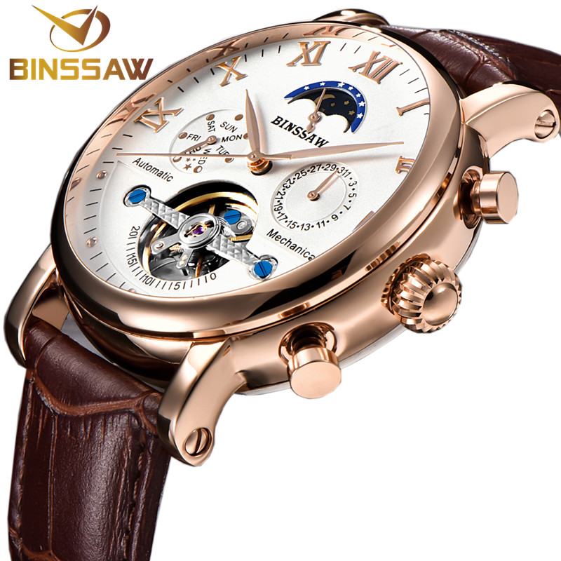 BINSSAW Men Mechanical Watch Automatic Tourbillon Wristwatches Business Leather Moon Phase Reloj Sports Watches Montre Homme