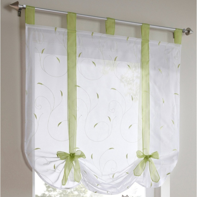 European Embroidery Style Tie Up Window Curtain Kitchen Voile Sheer Tab Top Brand Curtains