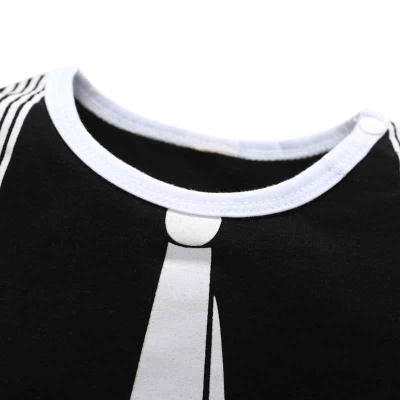 Fashion Baby Boys Clothes Cartoon Tie Print Bodysuit 2018 Infant Long Sleeve Formal Playsuit Spring Autumn Clothing Outfit 0-24M
