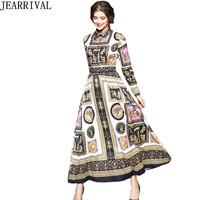 2018 New Spring Fashion Women Long Maxi Dress Vintage Print Full Sleeve Turn down Collar Tunic Beach Casual Dress Vestidos