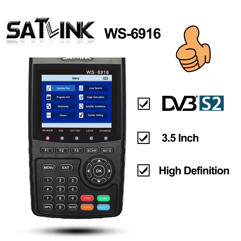 Satlink WS-6916 HD DVB-S2 High Definition Satlink 6916 Satellite Finder 3.5 inch MPEG-2/MPEG-4 WS6916 Satellite Meter satlink ws 6979se satellite finder meter 4 3 inch display screen dvb s s2 dvb t2 mpeg4 hd combo ws6979 with big black bag