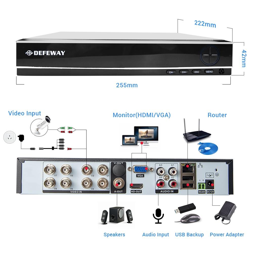 DEFEWAY Kiti Kamera Video Gözetim 1080 P CCTV Sistemi 8CH Gözetim - Güvenlik ve Koruma - Fotoğraf 5