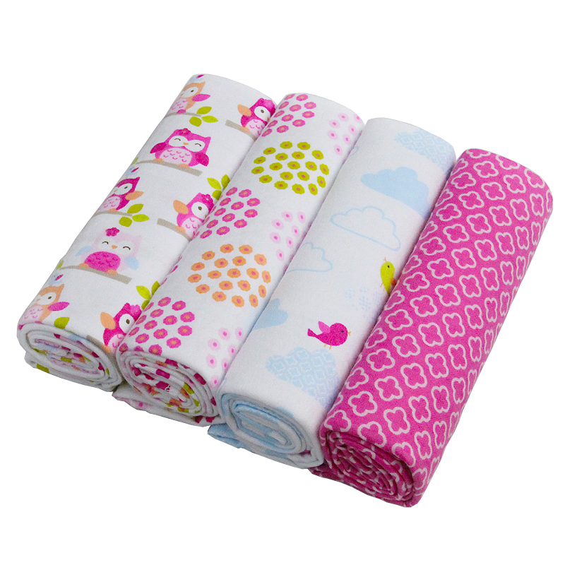 Hot! 4pcs / lot 100% Cotton Flannel Baby Boys Girls Blanket Swaddling Nyfødt Farverig Cobertor Blød Baby Sengetøj Sengetøj Sæt