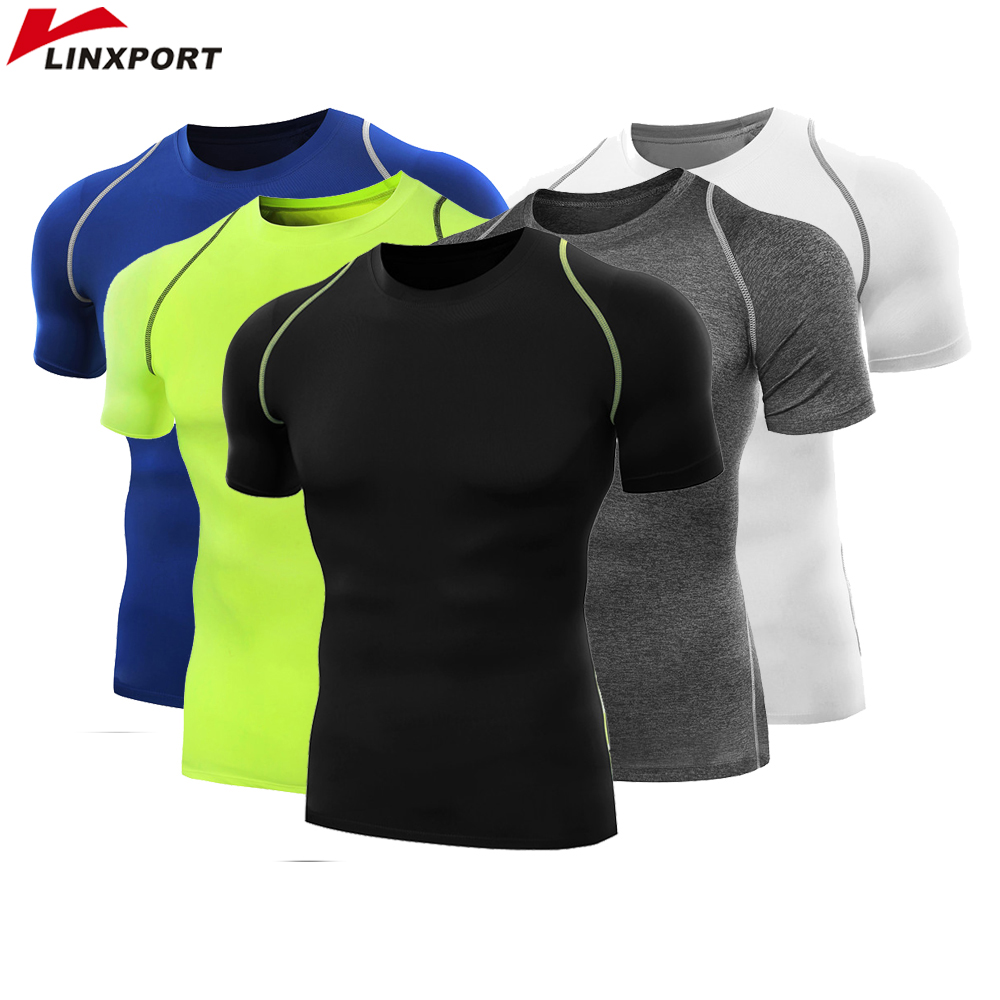 Fitness Herr Skjortor Kortärmad Basketball Fotbollströjor Running Sports T-shirt Man Termisk Bodybuilding Gym Compression Tights