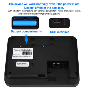 Image 4 - 2.4 بوصة تتفاعل tcp/ip/USB البيومترية بصمة آلة الحضور الوقت فنجر طباعة الوقت على مدار الساعة مسجل التعرف على الموظف