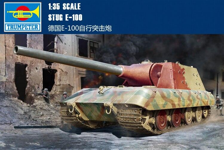 Trumpet 09542 1 35 German plan warship E 100 assault gun Assembly model