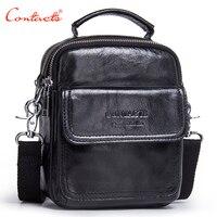 CONTACT S New Fashion Genuine Leather Men Shoulder Bags Handbag High Quality Casual Messenger Bag Business