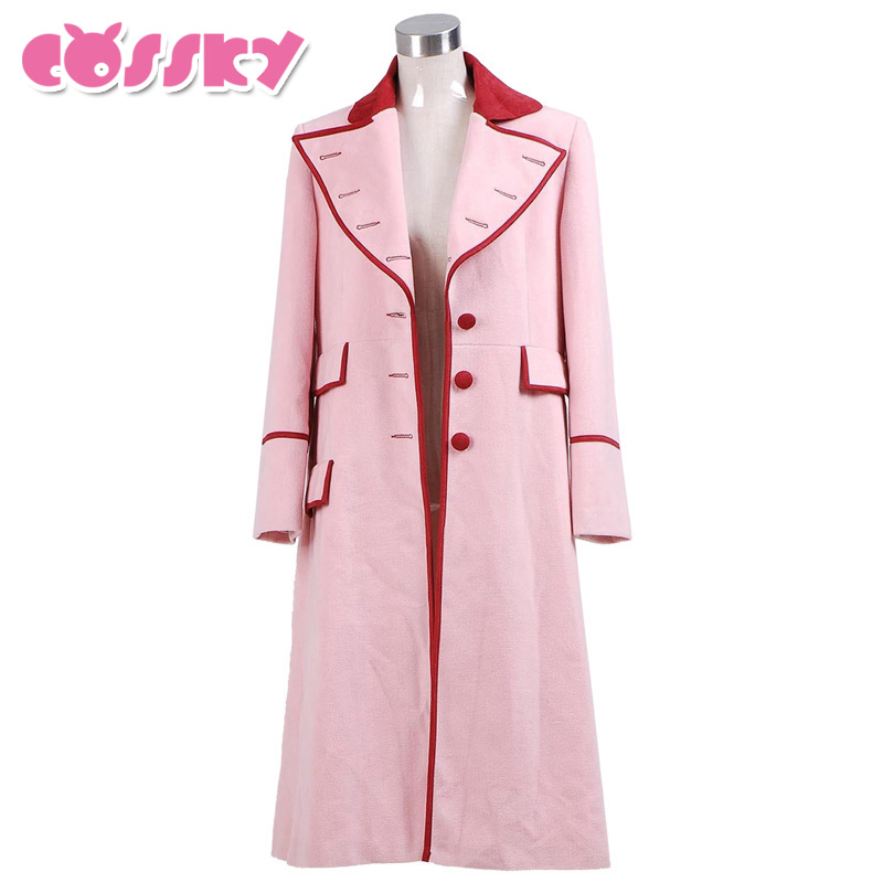 Doctor Who Coat Cosplay Costume Long Pink Wool Trench Halloween Costumes Christmas Coat