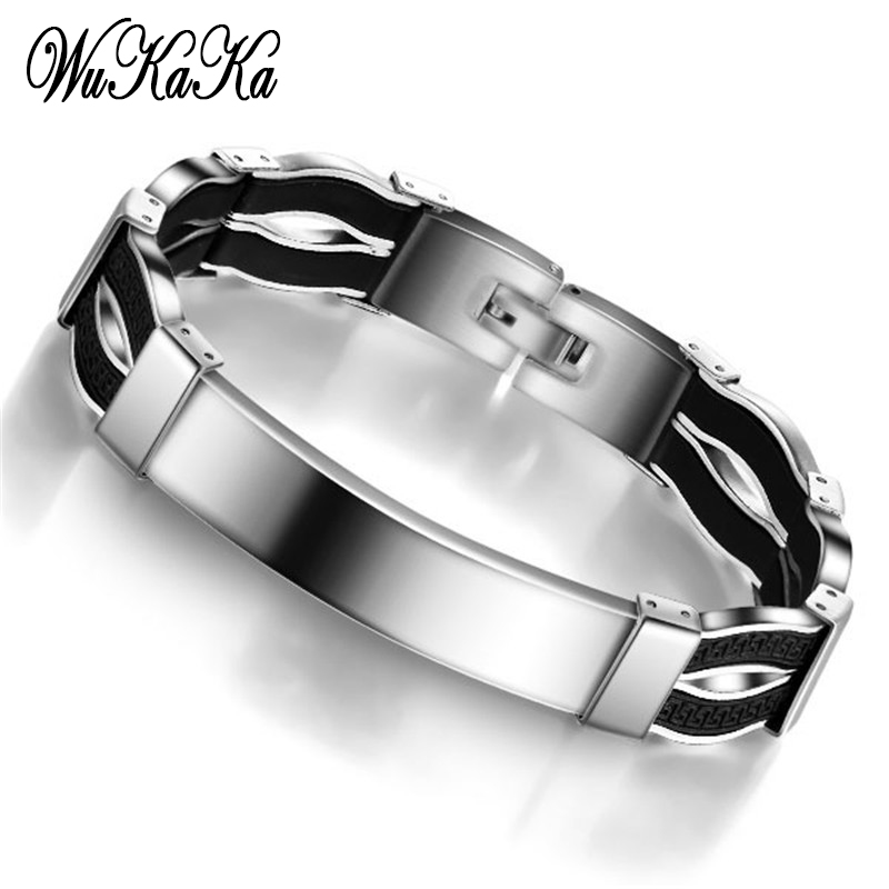 Wukaka Fashion Black Stainless Steel Men Bracelets For Men 2018 Men Jewelry Gift Father's Day