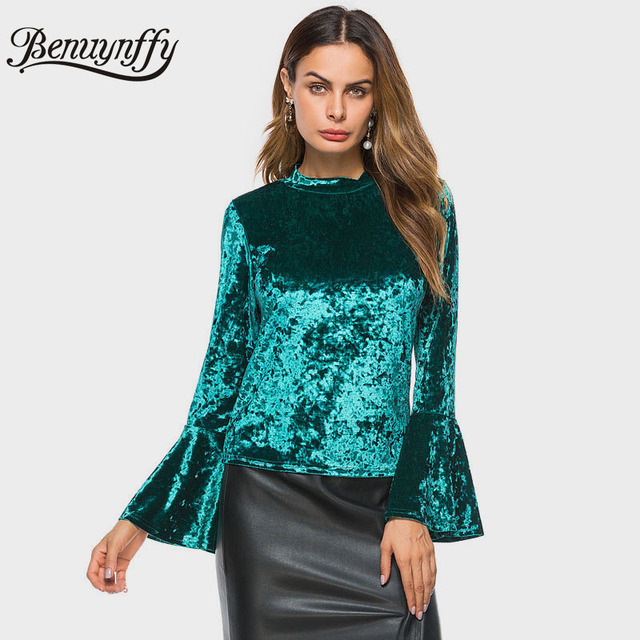 Benuynffy Burgundy Flare Sleeve Velvet Blouse Women s Tops Fashion Autumn  New Arrival Green Black Long Sleeve Elegant Blouse 073b0b85c2