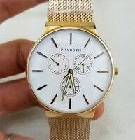 Japanese quartz movement clock Men's sport watch Phyboth gold stainless steel casual wrist watch free shipping