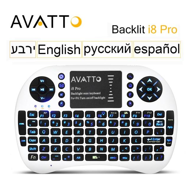 [Avatto] de gama alta de luz de fondo led retroiluminado touchpad i8 pro gaming mini teclado inalámbrico de 2.4 ghz air mouse para ipad/ps3/xbox/tv box