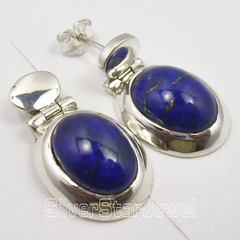 Silver LAPIS LAZULI BIG CHUNKY s Earrings 2.6CM1 Pair of Earring 1 pair big