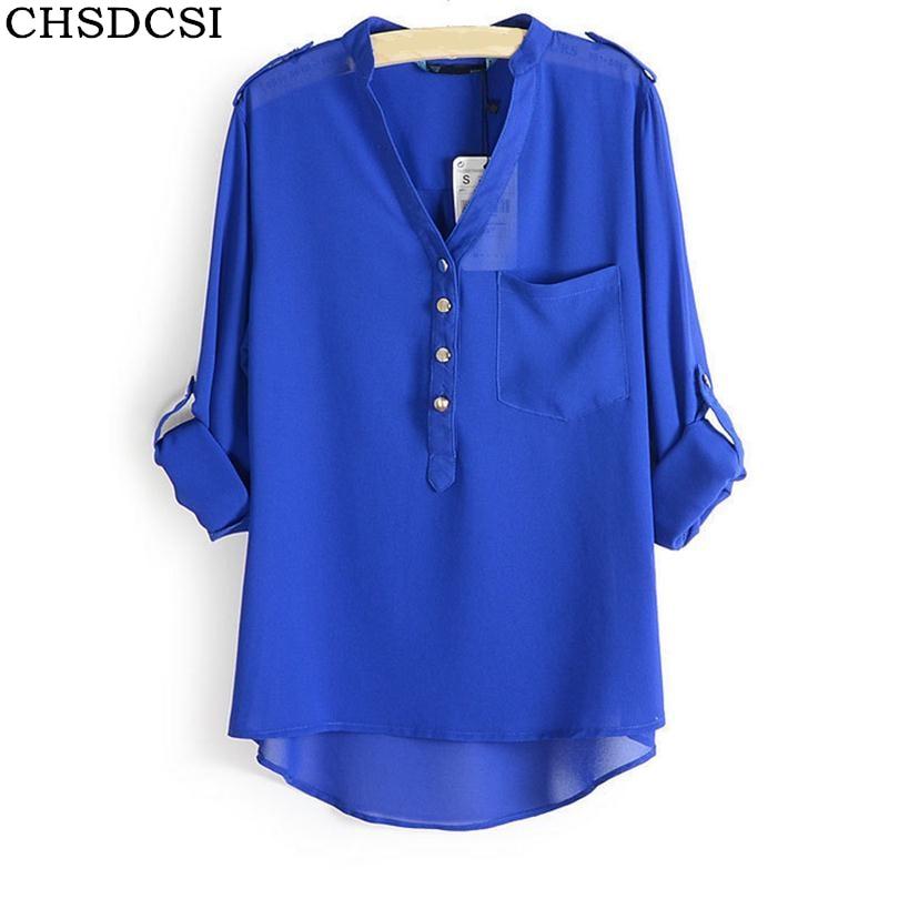 Plus Size XXXL 3 Colours Women Chiffon Blouse Camisas Blusas Femininas Ladies Long Sleeve Sheer V-Neck Blouses Shirt Tops S070