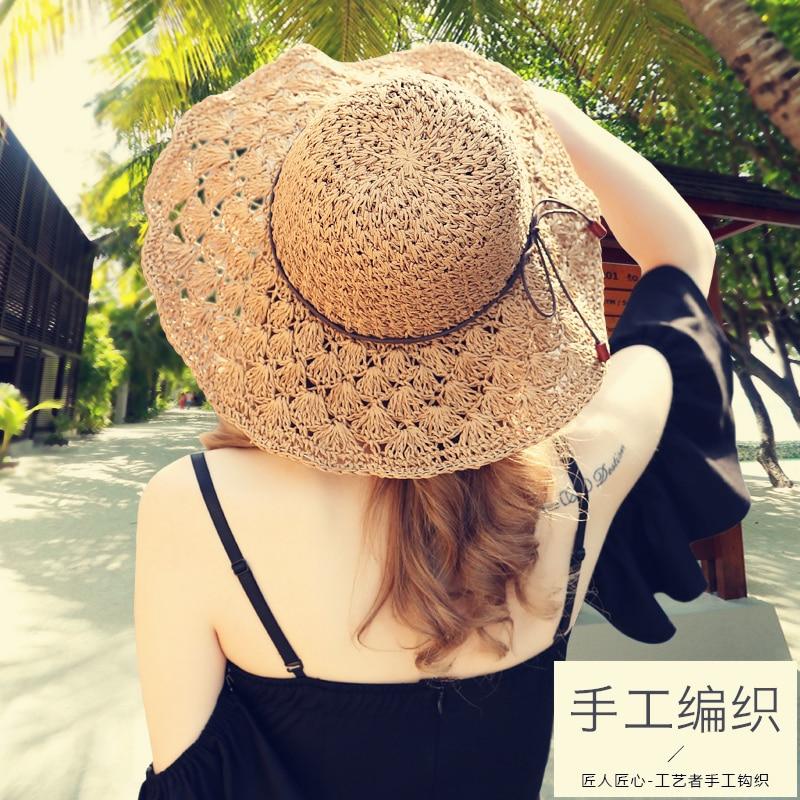 Señora New Sun Sombrero de paja Chica Verano Fresco plegable Gorra - Accesorios para la ropa