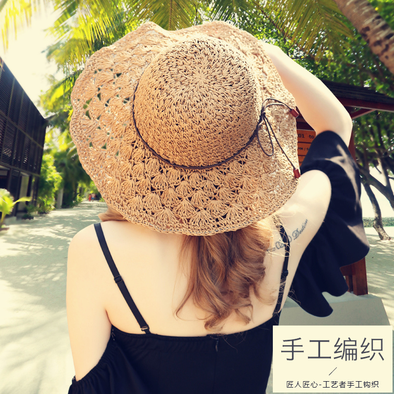 Lady New Sun salmu cepure meitene vasaras svaigi salokāma pludmales - Apģērba piederumi