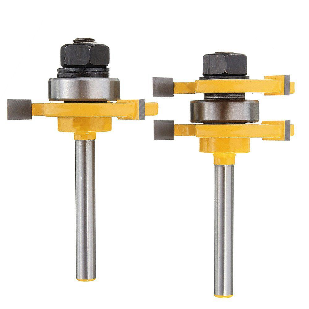 Retail price 2pcs Wood Milling Cutter Tongue 1/4-Inch Shank Matched Tongue and Groove Router Bit Set T-shape Woodworking Tool image