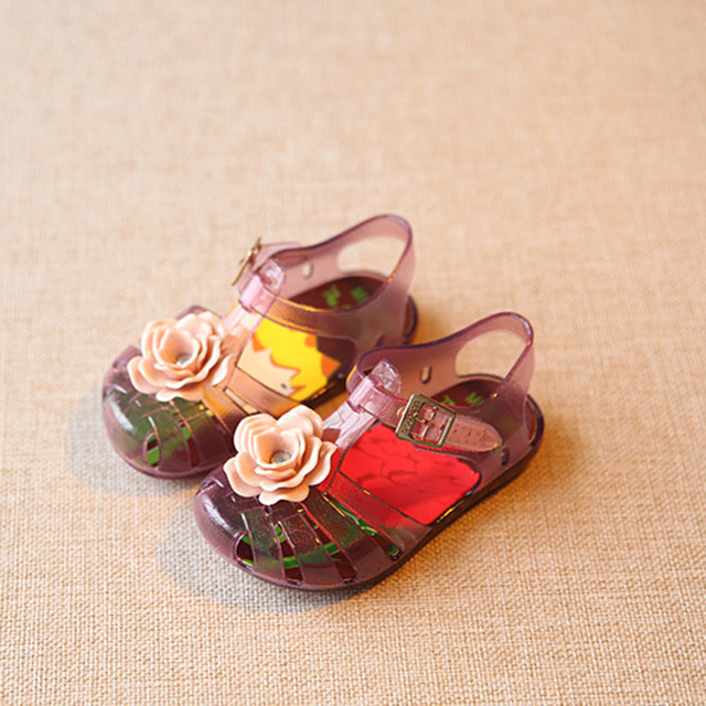 12.8-16.8 cm Mini Estilo Mickey Minnie Niños Calzado Del Niño Del Bebé Niñas de Cristal Melissa Jalea Zapatos de Los Niños Sandalias de Playa XZ003