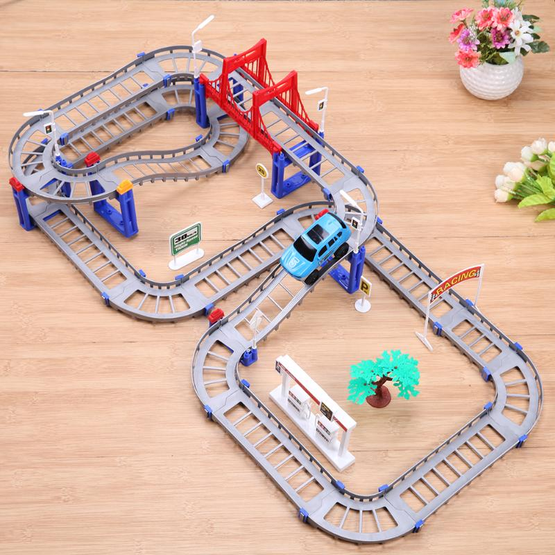 Boys Rail Car DIY Multi-layer Variety Train Rail Car Track Electric Puzzle Kids Educational Toys Gift Accessories