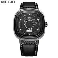 MEGIR Men S Fashion Square Watches Sport Black Men Quartz Clock Man Army Military Leather Wrist