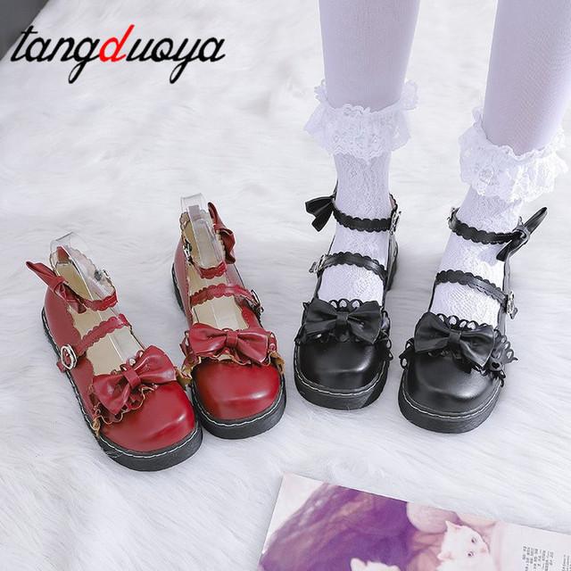 Słodki lolita buty odpinany bowknot bandaż połowy pięty okrągłe głowy damskie buty wygodne kawaii dziewczyna loli cosplay buty tanie tanio TangDuoYa Plac heel Masz Niska (1 cm-3 cm) Podstawowe Okrągły nosek Na co dzień Pasuje prawda na wymiar weź swój normalny rozmiar