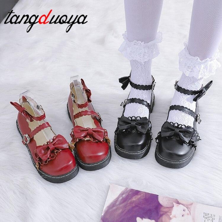 Sweet Lolita Shoes Detachable Bowknot Bandage Mid Heel Round Head Women Shoes Comfortable Kawaii Girl Loli Cosplay Shoes