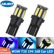 ASLENT 2Pcs T10 W5W Car LED 194 168 10-7020 SMD Wedge Replacement Reverse Instrument Panel Lamp White Bulbs For Clearance Lights