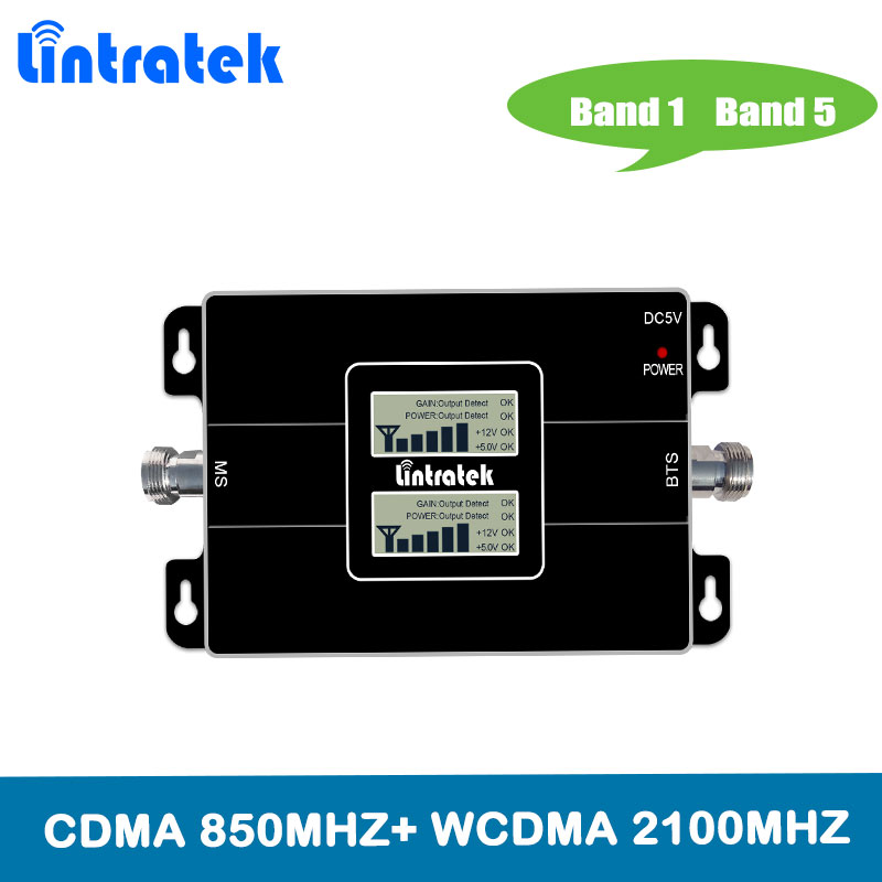 Lintratek DuaL Band GSM CDMA 850MHz Repeater 3G 2100MHz Signal Booster Cellphone Repeater Band 5/Band 1 Amplifier 850 2100MHz