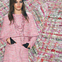 5 cores de lantejoulas tecido tweed, 145 cm com fios tingidos tecido tweed para revestimento das mulheres, fios de ouro metálico tecido tweed coat