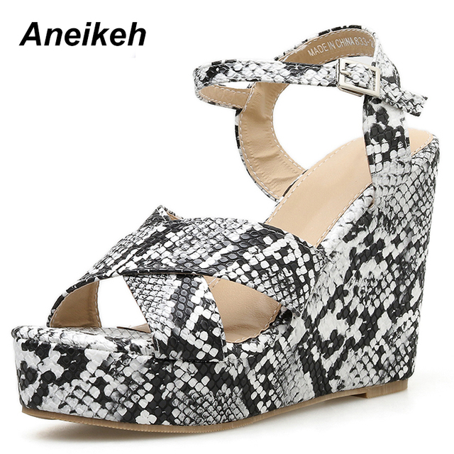 9e603c463df US $18.33 47% OFF|Aneikeh NEW Fashion Leopard Print Wedges Sandals 2019 New  Summer Roman Sandals High Heels Peep Toe Heels Platform Women's Shoes-in ...