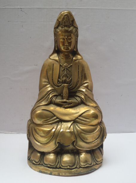 High 8 Inch Metal Crafts Art & Collectible Chinese Brass Carved Guanyin Statue/Buddha Sculpture Fast Shipping