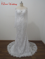 New Real Images New White Ivory Wedding Dresses Sheer Lace Bridal Gowns Sexy Low Back Women