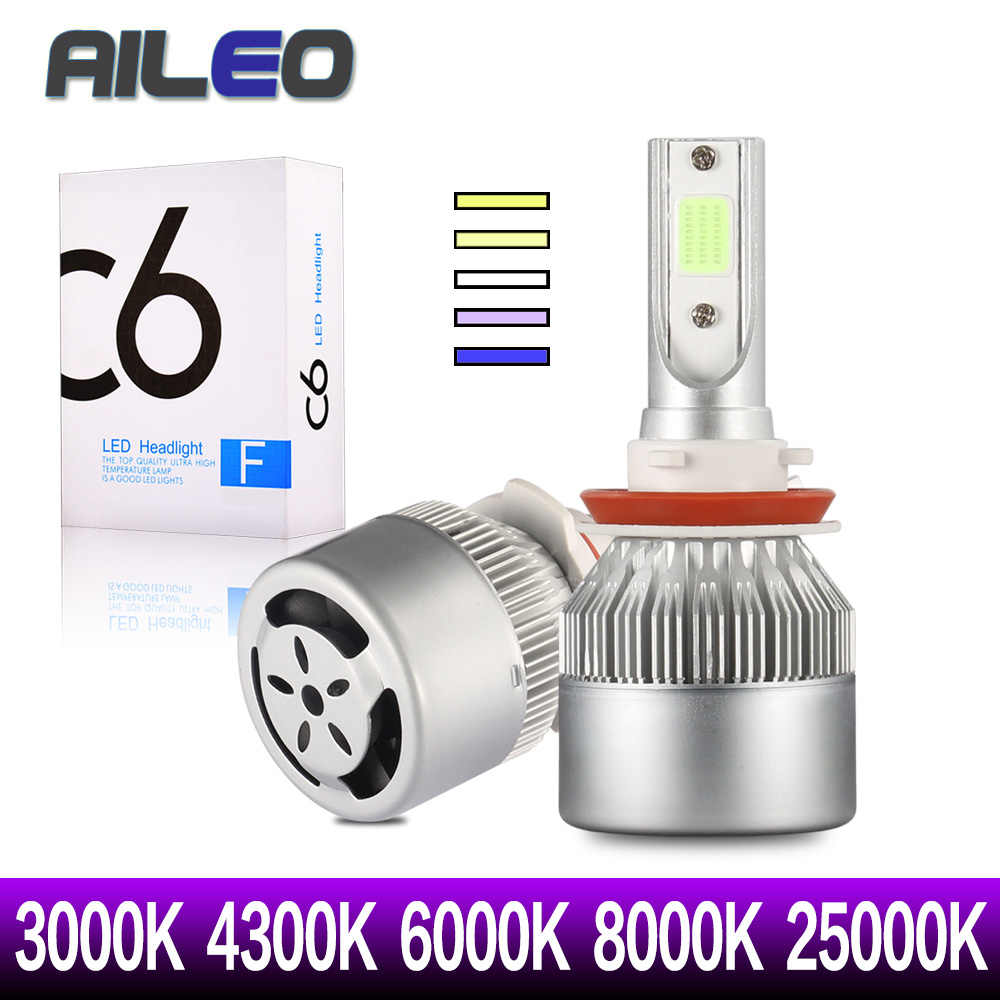 AILEO 4pcs/2pcs H1 H3 H4 LED 9005 9012 9003 9006 9004 880 881 HB1 HB3 Car Headlight Bulbs 3000K 8000k 6000K 4300K 25000K COB C6