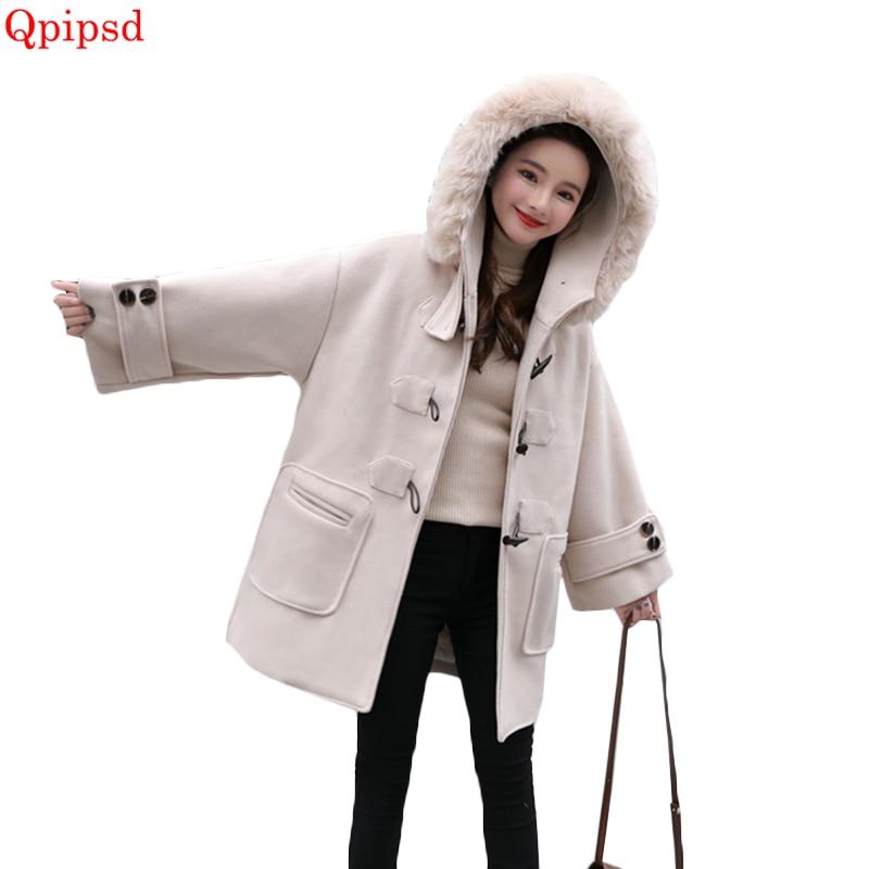 2018 Chaud white Capuche Femme Vestes En De Corne Manteaux Bouton Nouveau orange Pardessus Manteau Laine À Et Hiver Veste Creamy Coréen Femmes Lâche qOxp8I1nw