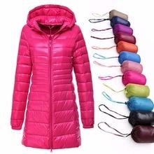 Woman Warm Coat Ultra Light Duck Down Jacket Plus Size Long Female Overcoat Hooded Jackets Winter Indoor Coat Portable Parkas