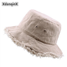 XdanqinX Foldable Mens Beach Hat Summer Novelty Personality Hip Hop Cotton Vintage Bucket Hats Big Brim Visor For Women NEW