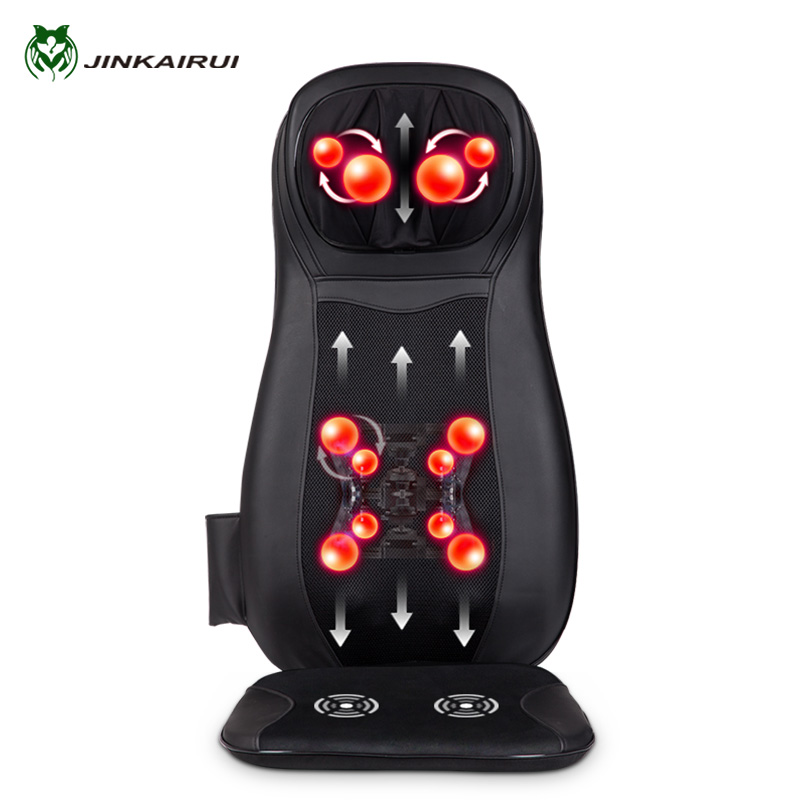 JinKaiRui Electric Back Massager Vibrate Cervical Massage Device Pillow Neck Full-body Home Car Office Chair Massj Heated Relax girl