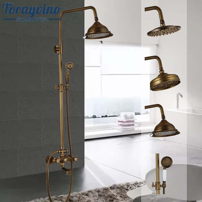 Torayvino Modern 6-model Bathroom Surface Mount Brass Rainfall Shower Faucet Set Antique Brass With Handshower + Tub Spout